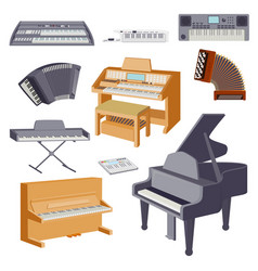keyboard musical instruments isolated on white vector image vector image