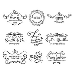 collection of photography hand drawn logo vector image