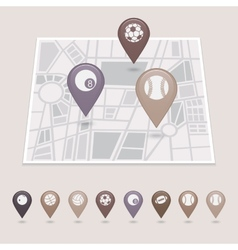 Sports balls mapping pins icons vector image