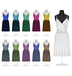 Classic female plain dress template vector image vector image