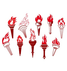 Flaming retro torches vector image vector image