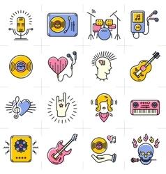 Line art music icons set Rock punk jazz symbols vector image