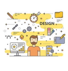 modern thin line flat style design concept vector image