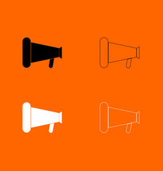 Loud speaker or megaphone black and white set vector