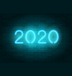 2020 neon sign blue realistic neon numbers vector image