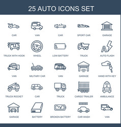 25 auto icons vector
