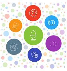 7 eggs icons vector
