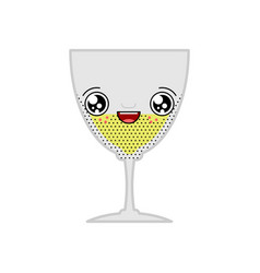 alcohol glass kawaii cute cartoon funny sweet vector image