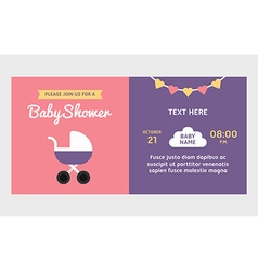 Baby shower invitation template Colored flat vector