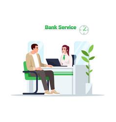 Bank service semi flat rgb color vector