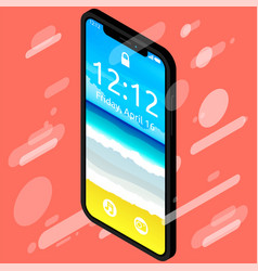 beautiful smartphone with notch displaycolor vector image