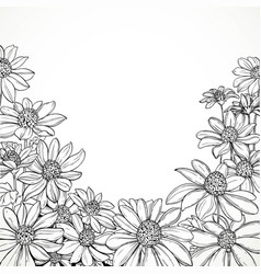 black and white graphic line drawing lush vector image