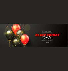 black friday sale background with black and red vector image