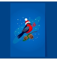 Bullfinch wearing a Hat holding berries on Branch vector image