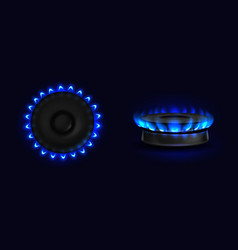Burning gas stove with blue flame top or side view vector