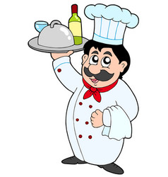 cartoon chef holding meal and wine vector image