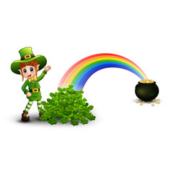 Cartoon girl leprechaun standing near the rainbow vector