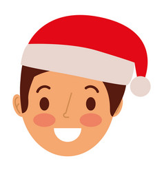 cartoon man adult wearing christmas hat vector image
