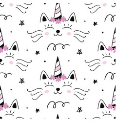 cat unicorn capricorn seamless pattern vector image