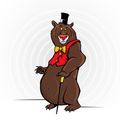 Cheerful Cartoon Bear With The Hat vector image