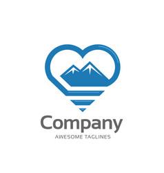 creative mountain and love outline logo concept vector image