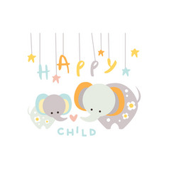 Cute little elephant with mother happy child with vector