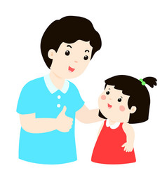 Dad admire his daughter character cartoon vector