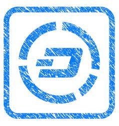 Dash pie chart framed stamp vector