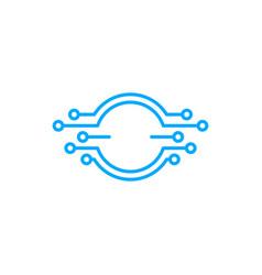 digital round circle emblem electric circuit logo vector image