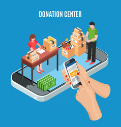 Donation center isometric background vector