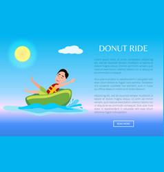 donut ride web poster design with boy having fun vector image