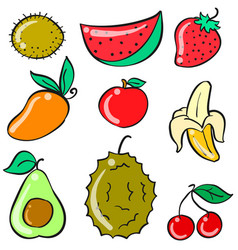 Doodle of various fruit collection vector