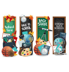 education chalkboard with back to school lettering vector image