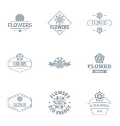 explore flower logo set simple style vector image