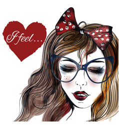 Fashion with a face of pretty girl in glasses vector
