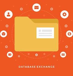 Flat design business concept Database exchan vector