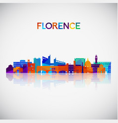 florence skyline silhouette in colorful geometric vector image