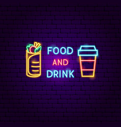 Food and drink neon label vector