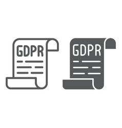 Gdpr policy line and glyph icon privacy and vector