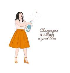 Girl holding champagne bottle quote magazine vector