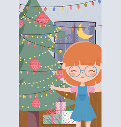 Girl with tree gifts and lights living room vector