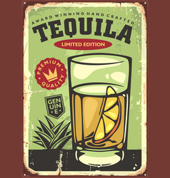glass tequila with lemon slice vector image