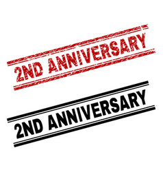 Grunge textured and clean 2nd anniversary stamp vector