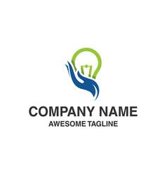 Hand care bulb lamp logo vector