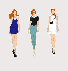 Hand drawn fashion models vector image