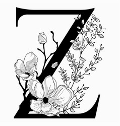 Hand drawn floral uppercase z monogram and vector