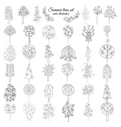 Hand drawn monochrome floral elements set vector