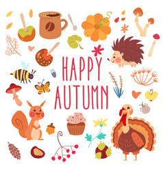 Happy autumn cute set vector