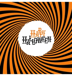 Happy Halloween Typography On orange rays hypnotic vector image