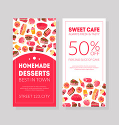 Homemade desserts best best in town sweets cafe vector